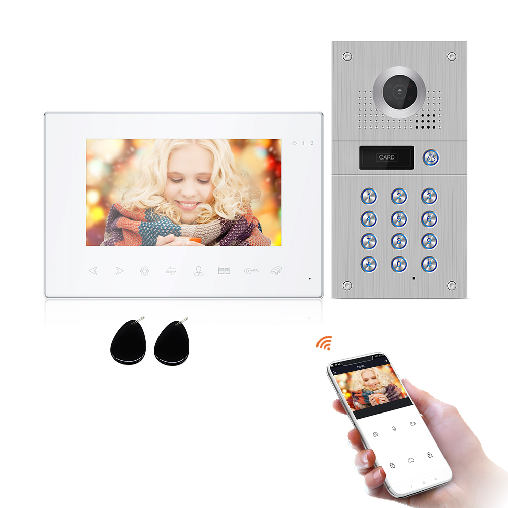 WIFI Smart Tuya Video Door Phone Intercom System with 720P/AHD Doorbell Recording, Support iOS/Android Remote Unlock