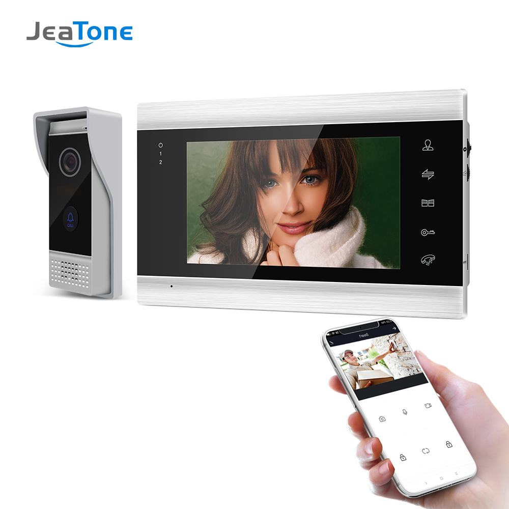 7 Inch Wireless WiFi Smart IP Video Door Phone Intercom System with 1x 720P Wired Doorbell Camera,Support Remote unlock