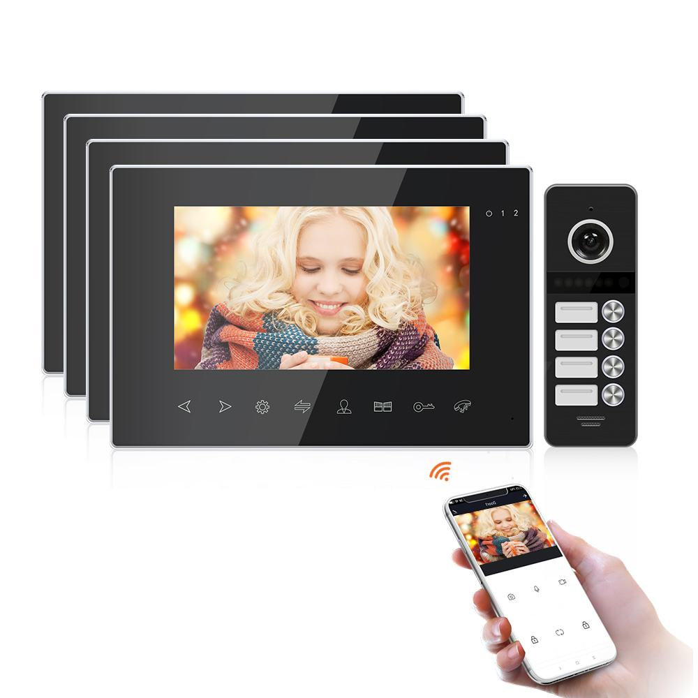 "7""Wifi Tuya Monitor Video Door Phone Intercom for Home with Multi-language+Remote Control+Motion Detection+Double unlock"