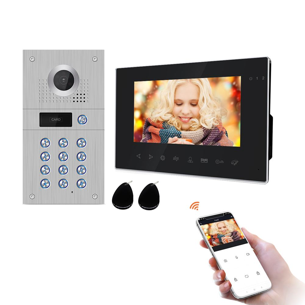 Inch 960P WiFi Smart Video Door Phone Video Intercom Code Keypad/RFID Card/APP Unlock Motion Detection Access Control