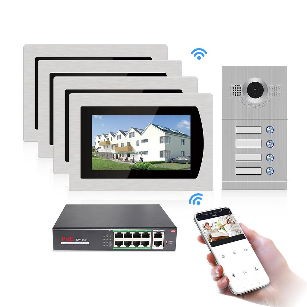 7'' Tuya WIFI IP Touch Screen Video Intercom Video Door Phone for 4 Separate Apartments, Supporting Phone Remote Control