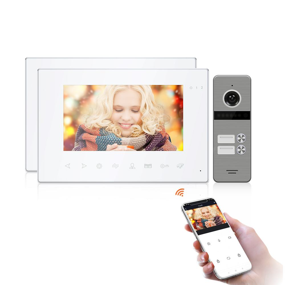 "7""Home Wifi Tuya Monitor Video Door Phone Intercom with Multi-language+Remote APP Control+Motion Detection+Double unl"