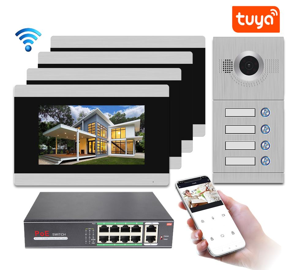 IP Door Phone WIFI Video Intercom Video Doorbell 7'' Touch Screen for 4 Separate Apartments/Can add Gas/Smoke/Water Alarm Sensor